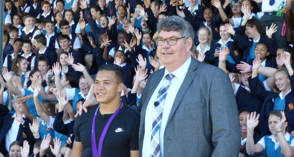 Rugby hero Cheslin Kolbe surprises his alma mater