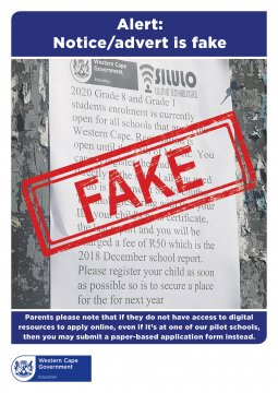 Member of the public helps the WCED to track down enrolment scam